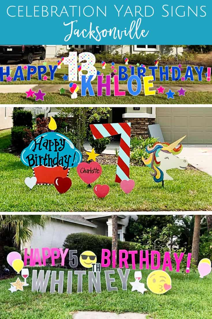 Where to find birthday, graduation, party yard signs in Jacksonville & St. Johns, Florida.