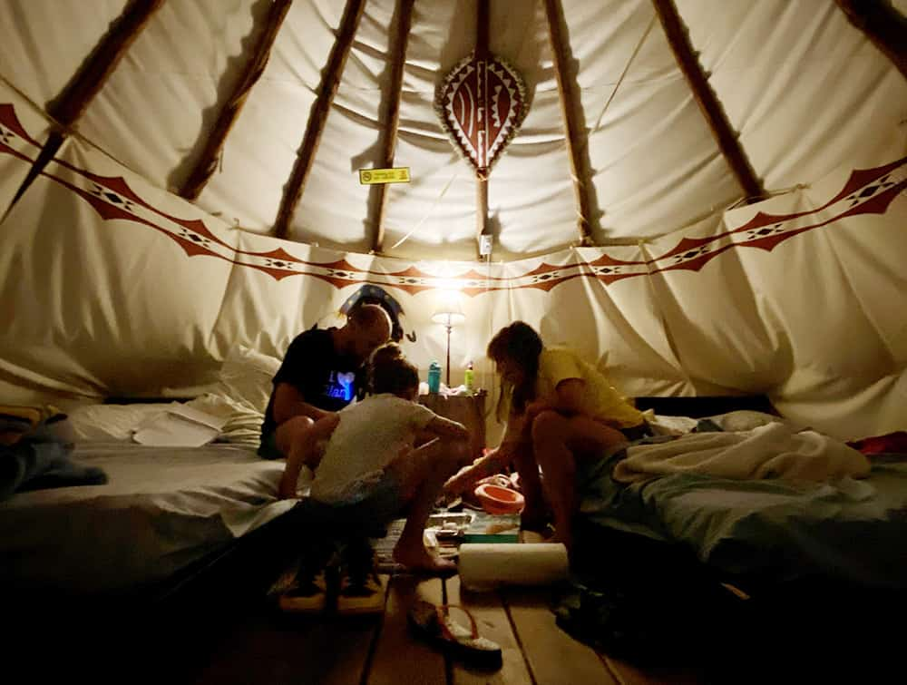 Inside a Teepee for Camping